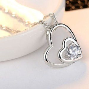 New Silver Clear CZ Double Heart Shape Necklace